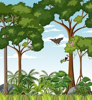 Tropisch regenwoudtafereel met verschillende wilde dieren