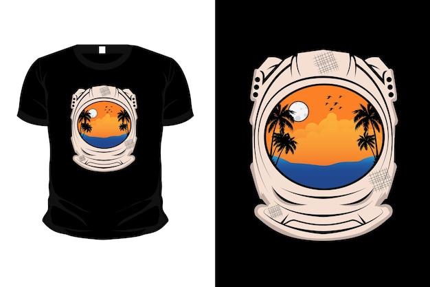 Tropisch strand illustratie silhouet t-shirt ontwerp met astronauten helm Premium Vector