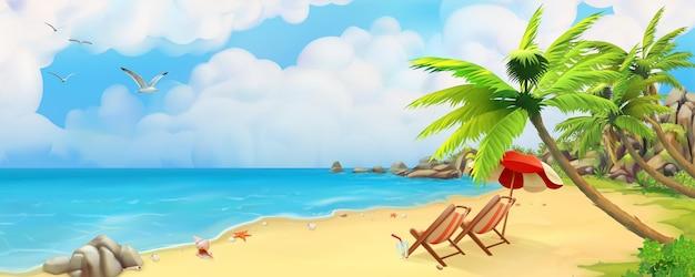 Tropisch strand in panoramisch uitzicht