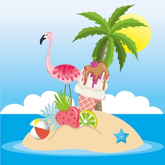 Tropisch strand landschap thema cartoon
