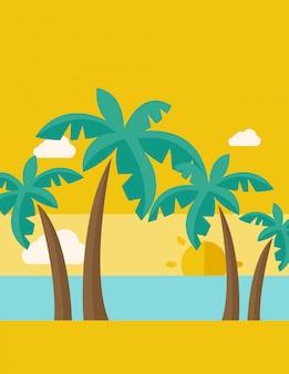 Tropisch strand met wolken en zonsondergang