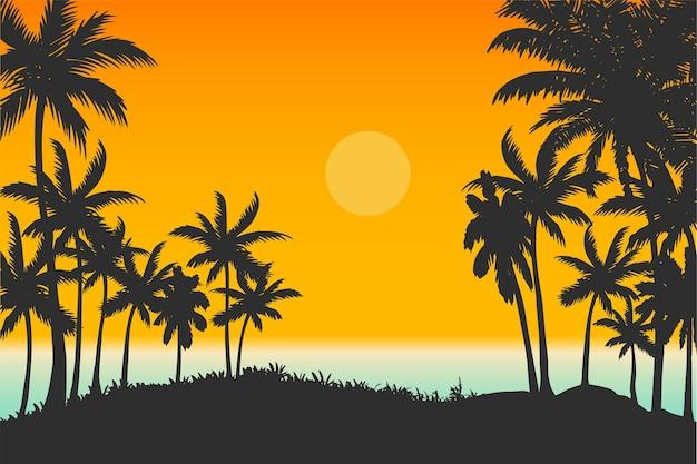Tropisch strand natuurlijke landschap vector, oceaan en palmbomen zonsondergang achtergrond