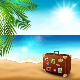 Tropisch strand, vakantie illustratie