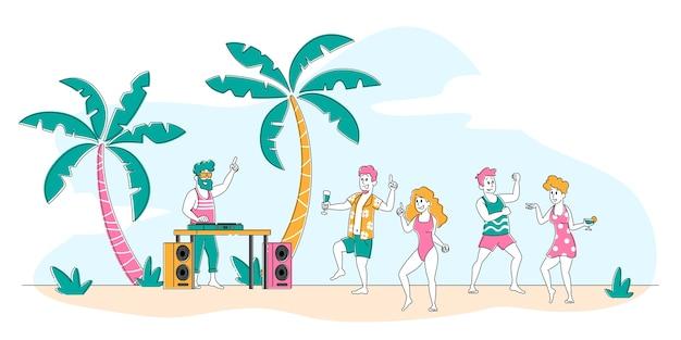 Tropisch strandfeest met mensen die ontspannen op hete zomertijd