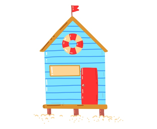 Tropisch strandhuis, actieve, hete zomervakantie, hut aan zee, ontwerp cartoon stijl illustratie, geïsoleerd op wit. groene palmboom bij huisje, rust op eiland, gezellig houten bungalowgebouw