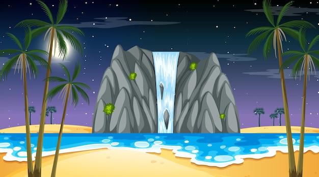 Tropisch strandlandschap bij nachtscène met waterval