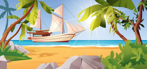 Tropisch strandlandschap met zeilschip, palmbomen, stenen, zee of oceaan, struiken en rotsen.