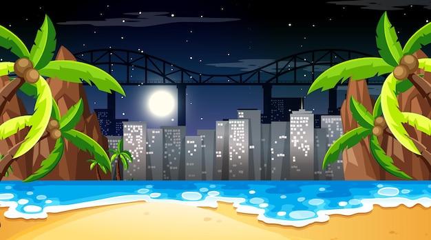 Tropisch strandlandschapsscène met stadsachtergrond