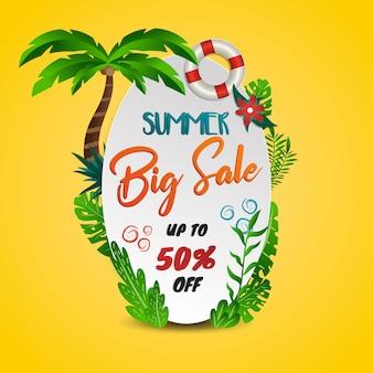 Tropisch thema van de de zomer het grote verkoop met gele achtergrond