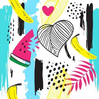 Tropisch trendy naadloos patroon met banaan, watermeloen en abstract element