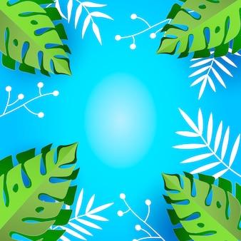 Tropisch van het bladerengebladerte kader als achtergrond