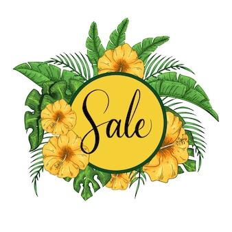 Tropisch verkoopkader met hibiscus en exotische palmbladenillustratie.