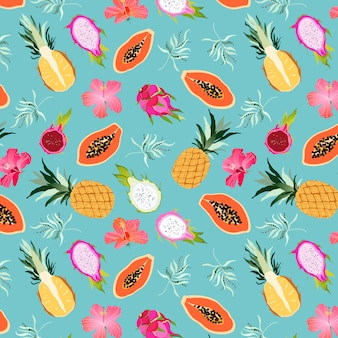 Tropisch vruchten en bloemenpatroon naadloos. exotische fruitcollectie op turkoois. dragon fruit, ananas, papaja en hibiscus bloemen. hawaiian island zoet paradijs. huwelijksreis. web, printontwerp.