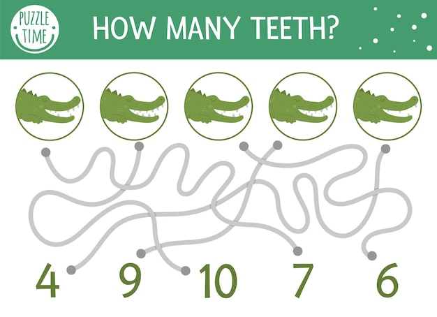 Tropisch wiskundedoolhof voor kinderen. voorschoolse zomeractiviteit. educatieve toevoeging raadsel. grappig wiskundig puzzelspel met krokodillen. leuk werkblad voor tellen. hoeveel tanden?