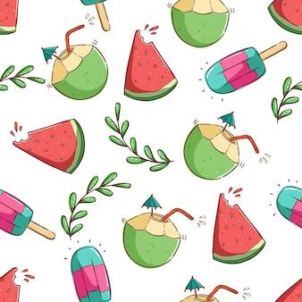 Tropisch zomerconcept in naadloos patroon kokosnoot drankje watermeloen en ijs
