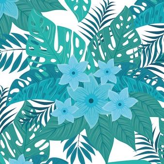 Tropische achtergrond, bloemen blauwe kleur en tropische planten, decoratie met bloemen en tropische bladeren