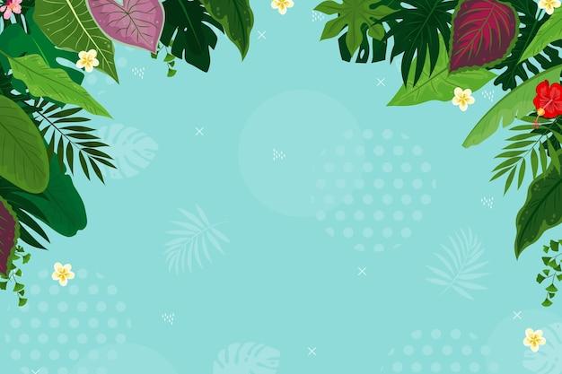Tropische achtergrond met bladeren en bloemen