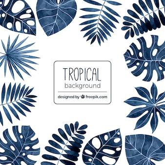 Tropische achtergrond met bladeren in aquarel stijl
