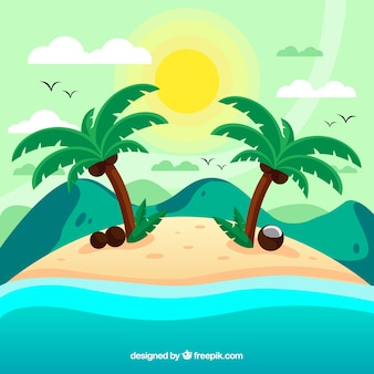 Tropische achtergrond met eiland en palmbomen