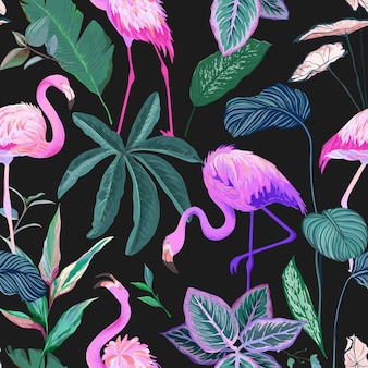 Tropische achtergrond met flamingo en palmbladeren. naadloos patroon, exotisch tropic inpakpapier. groene planten papier of textiel print, regenwoud decoratief behang ornament. vectorillustratie