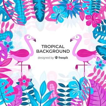 Tropische achtergrond met flamingo's