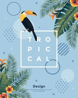 Tropische achtergrond met jungleplanten in platte ontwerpstijl