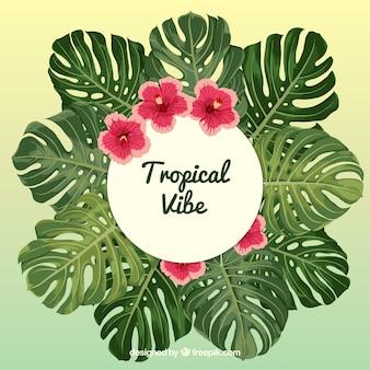 Tropische achtergrond met planten en bloemen