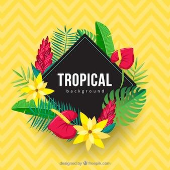 Tropische achtergrond met realistische bloemen
