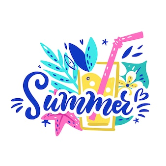 Tropische arrangement met belettering zomer. heldere sticker met bladeren Premium Vector