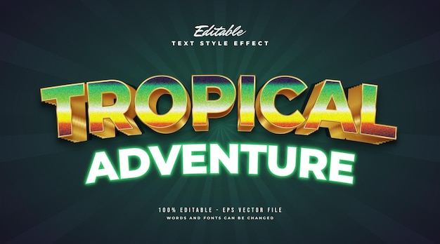Tropische avonturentekst in kleurrijke retro-spelstijl en gloeiend neoneffect. bewerkbaar tekststijleffect