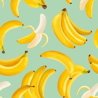 Tropische banaan naadloze vector achtergrond. exotisch tropisch fruitpatroonontwerp. aquarelsjabloon voor uitnodiging, moderne poster, minimale achtergrond, omslag