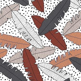 Tropische bananen blad naadloze patroon op stippen achtergrond.