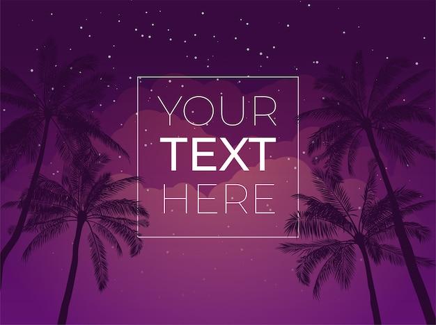 Tropische banner met palmboom en nachtelijke hemel en kopie ruimte. sjabloon met plaats voor uw tekst voor poster, spandoek, uitnodiging.