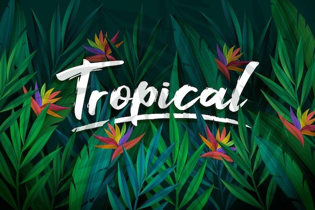 Tropische belettering met bladeren en bloemen achtergrond