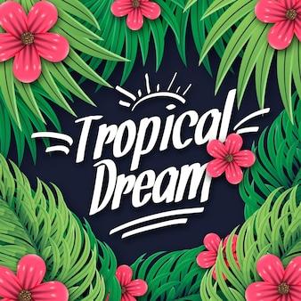 Tropische belettering stijl met bladeren