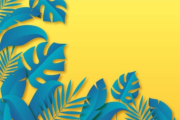 Tropische bladeren achtergrond in papier stijl