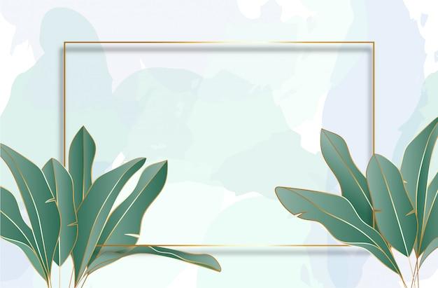 Tropische bladeren achtergrond met gouden frame