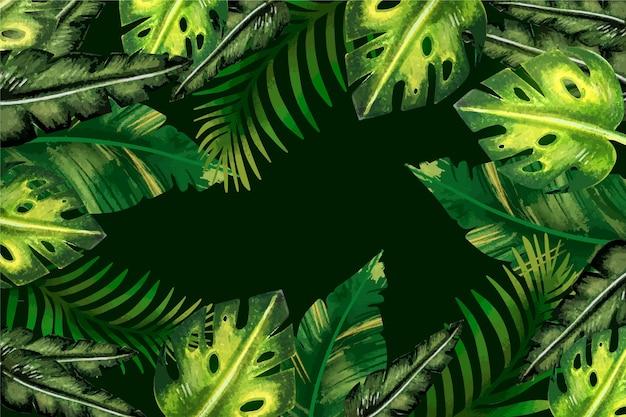 Tropische bladeren behangstijl