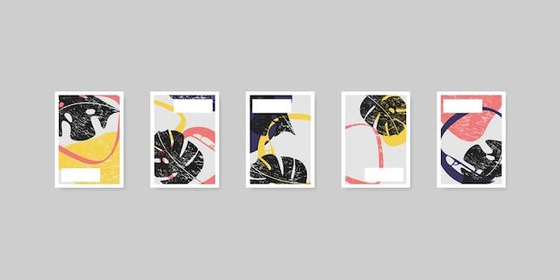 Tropische bladeren boho grunge stijl vector walpaper achtergrond instellen met abstracte vormen in kleurrijke vlakke stijl, decoratie voor poster of uitnodiging patroon collectie illustratie.