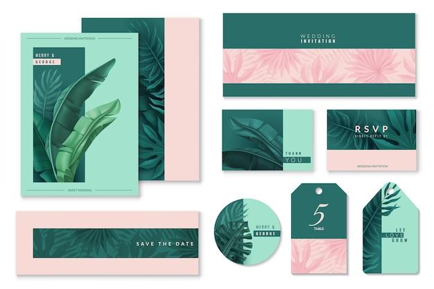 Tropische bladeren bruiloft kaarten set