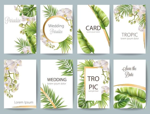 Tropische bladeren bruiloft wenskaart set met bloemen en plaats voor tekst