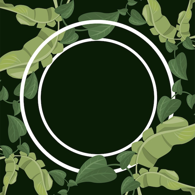 Tropische bladeren cirkelvormig frame