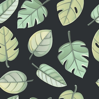 Tropische bladeren, dichte jungle. naadloos patroon op een donkere achtergrond.