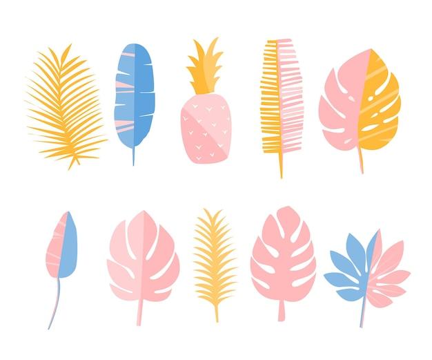 Tropische bladeren en ananas set elementen voor kaarten, modeprints en briefpapier