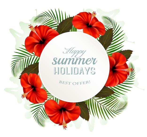 Tropische bladeren en bloemen met een banner van de zomervakantie. vector.