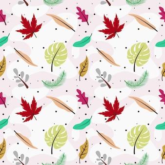 Tropische bladeren en bloemen naadloze patroonachtergrond