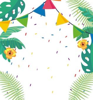 Tropische bladeren en bloemenachtergrond