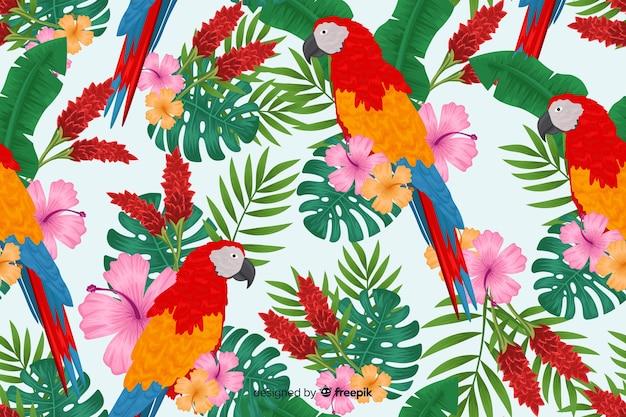 Tropische bladeren en exotische vogelsachtergrond