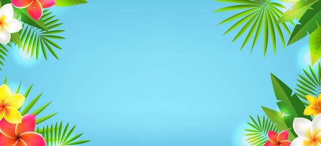 Tropische bladeren en tropische bloemen