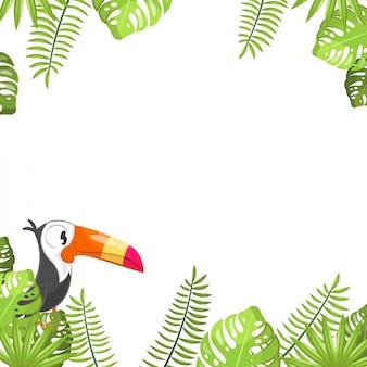 Tropische bladeren en tucans achtergrond